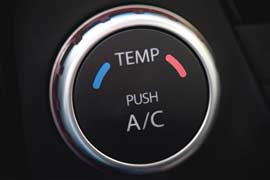 A/C and Heat temperature dial in car