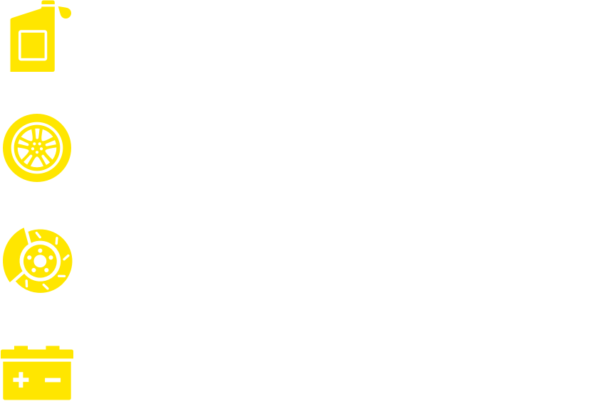 Conventional oil change. Tire Rotation. Visual brake check. Battery check and more.