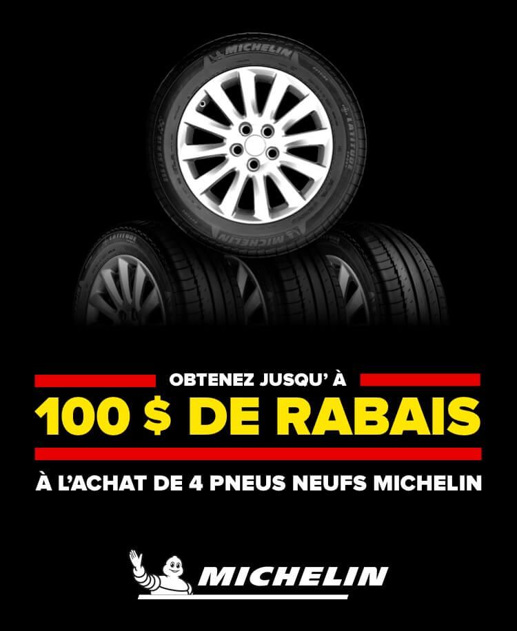 Obtenez jusqu'À 100 $ de rebais à làchat de 4 pneus neufs Michelin. Michelin