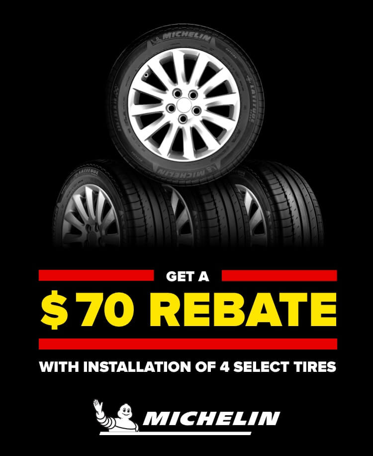 Get a $70 rebate with installation of 4 select tires. Michelin