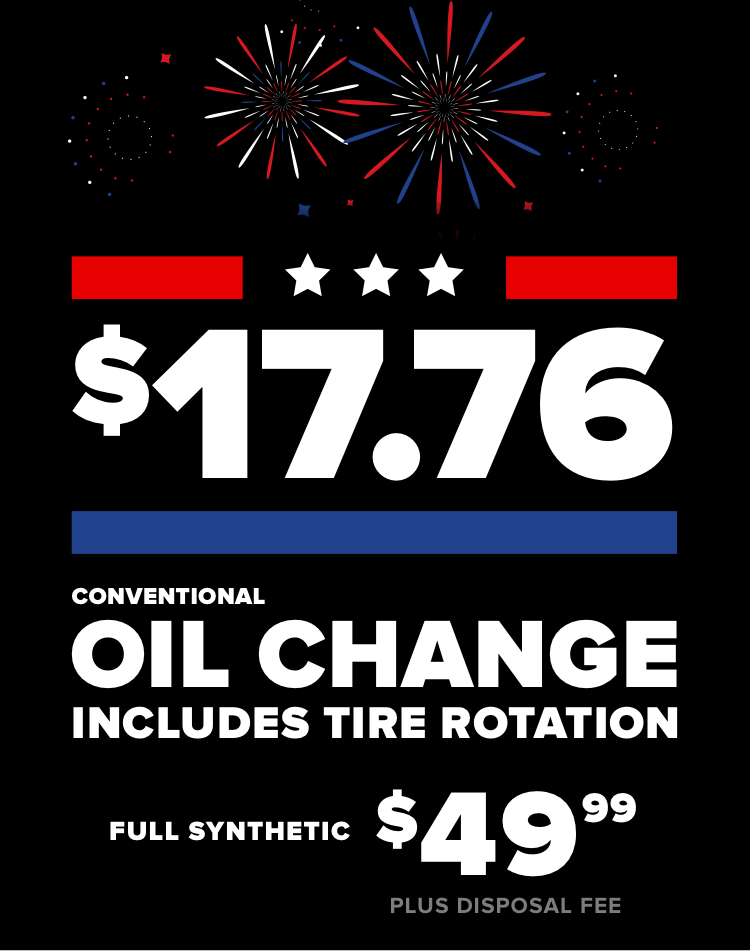 $17.76. Conventional oil change includes tire rotation, full synthetic $44.99, plus disposal fee.