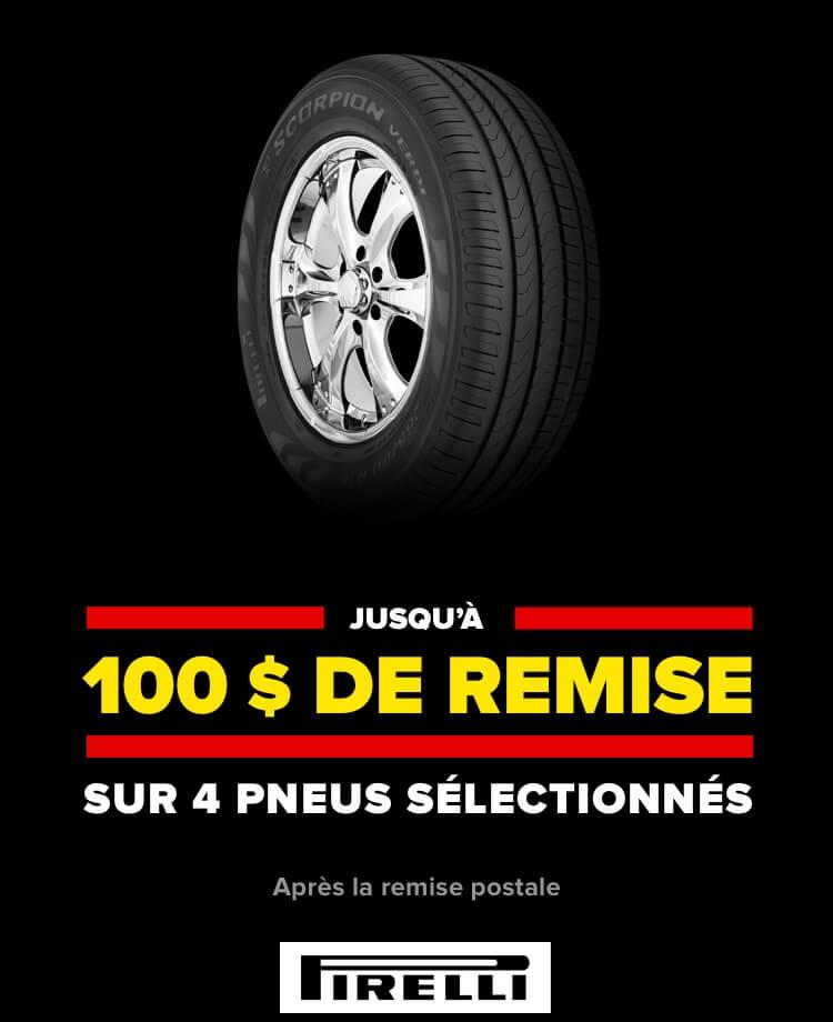 Jusqu'à 100 $ de remise sur 4 pneus sélectionnés. Après la remise postale. Pirelli.