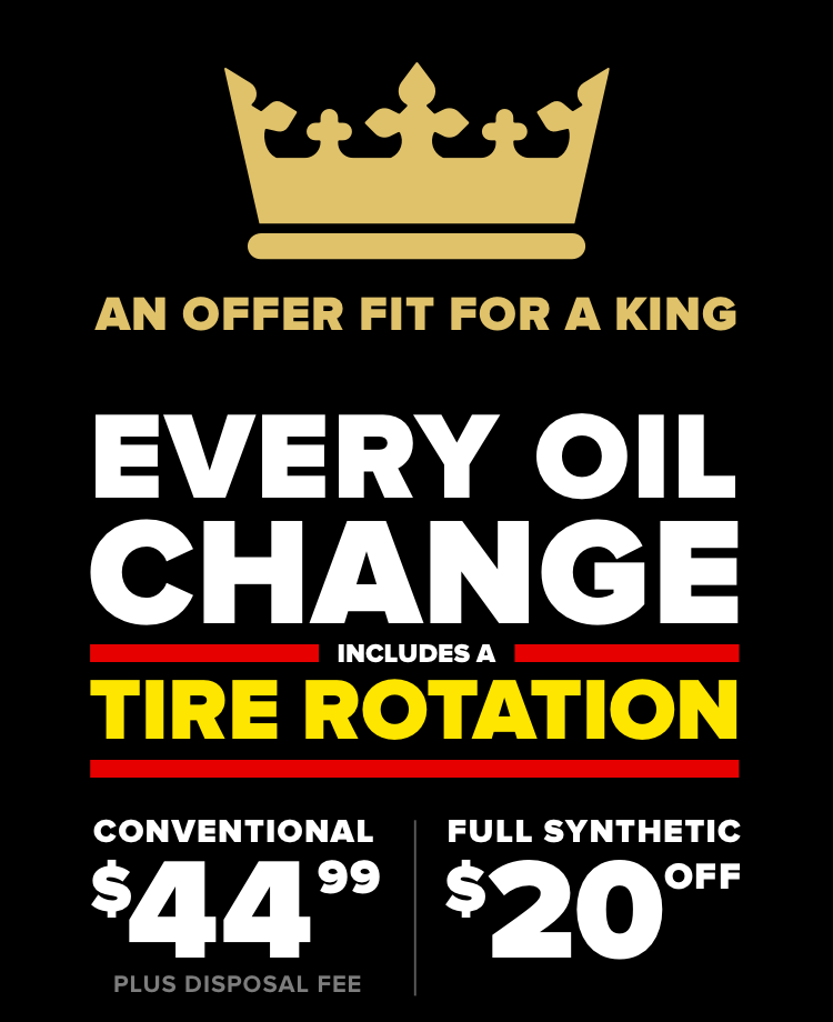 Every oil change includes a tire rotation. Conventional $39.99 Plus disposal fee. Full Synthetic $20 Off