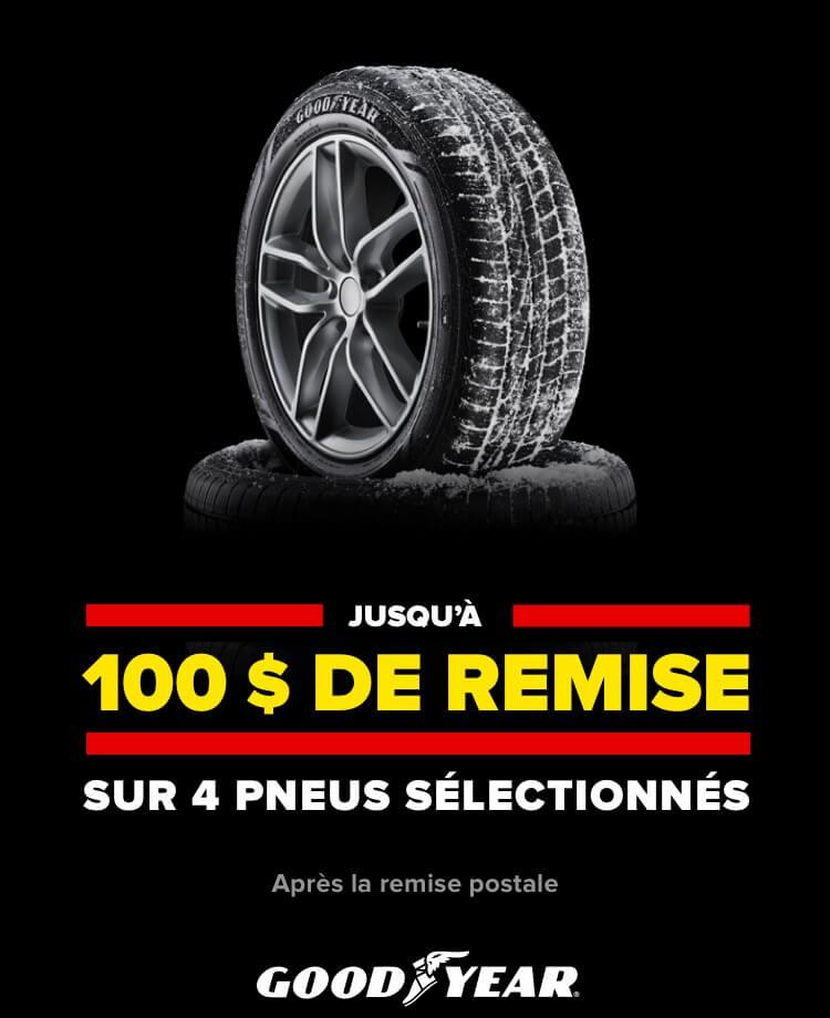 Jusqu'à 100$ de remise sur 4 pneus sélectionnés Après la remise postale. Goodyear.