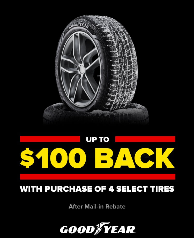 Up to $100 back with purchase of 4 select tires. After mail in rebate. Goodyear.