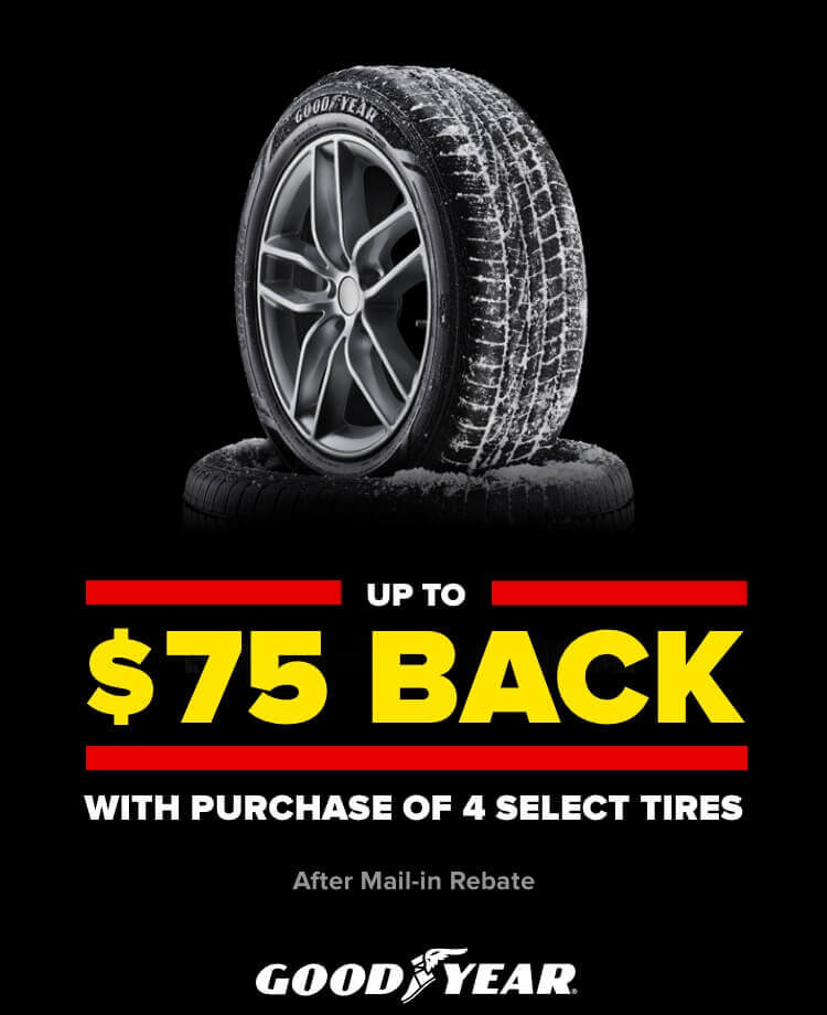 Up to $75 back with purchase of 4 select tires. After mail in rebate. Goodyear.