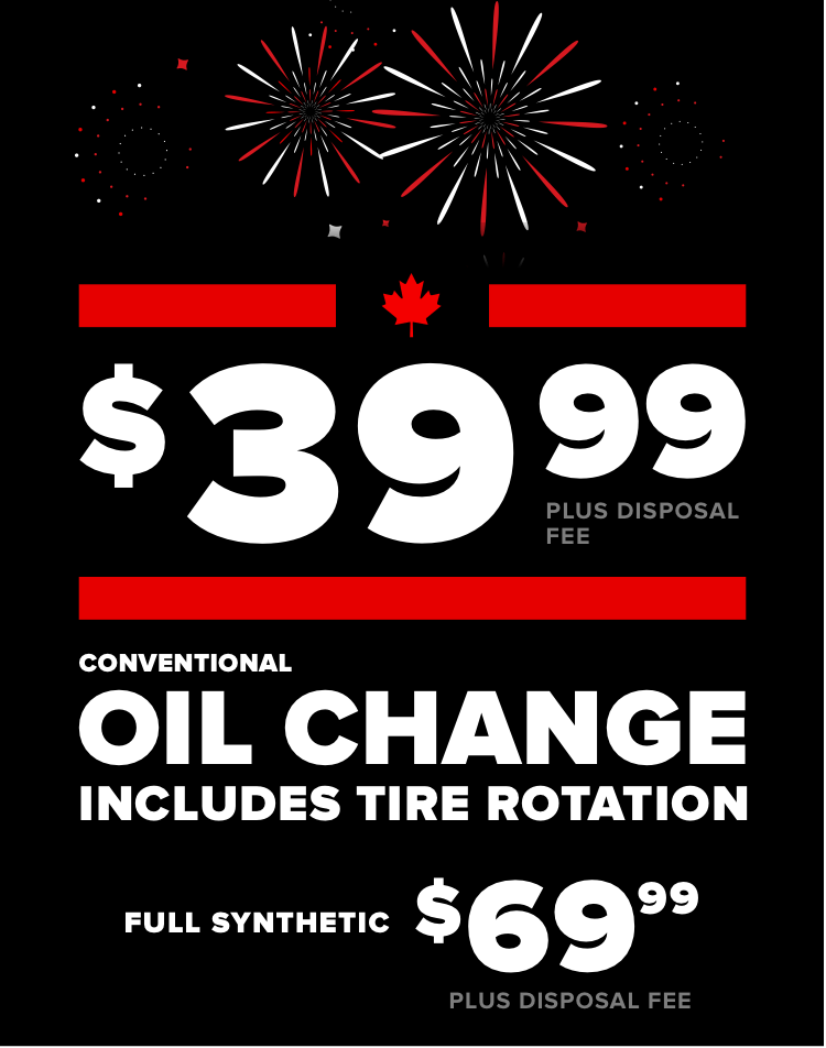 Every oil change includes a tire rotation. Conventional $39.99 Plus disposal fee. Full Synthetic $79.99 Plus disposal fee
