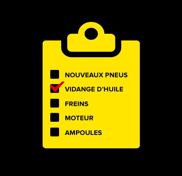 Vouveaux pneus, Vidange d'huile, Freins, Moteur, Ampoules