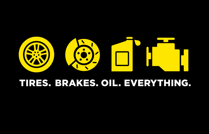 Tires. Brakes. Oil. Everything.